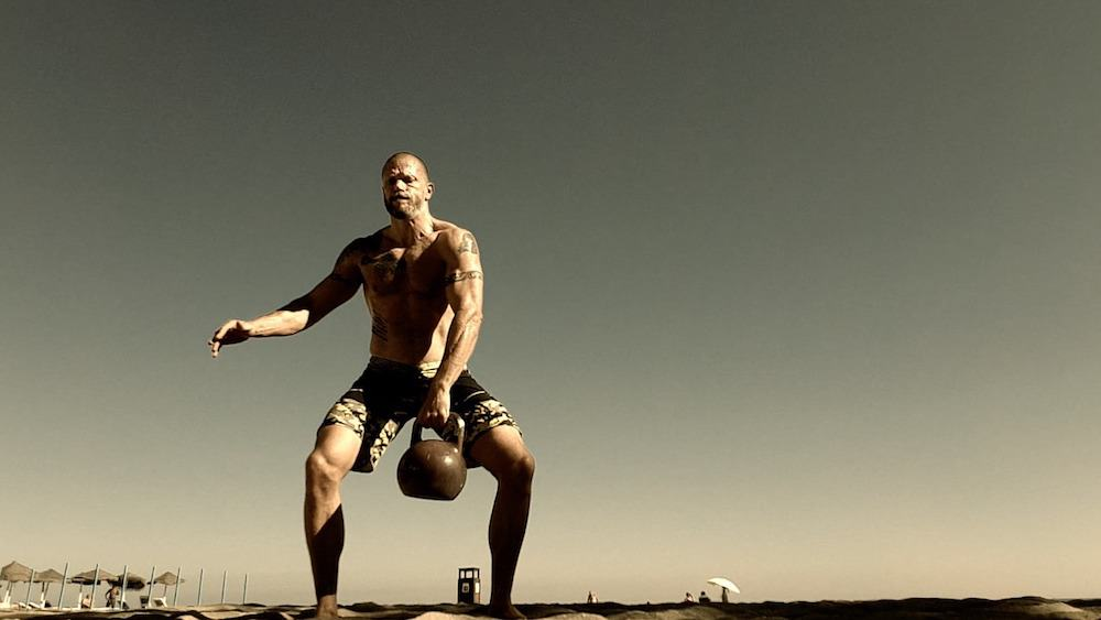 a complete workout on heavy kettlebell swings